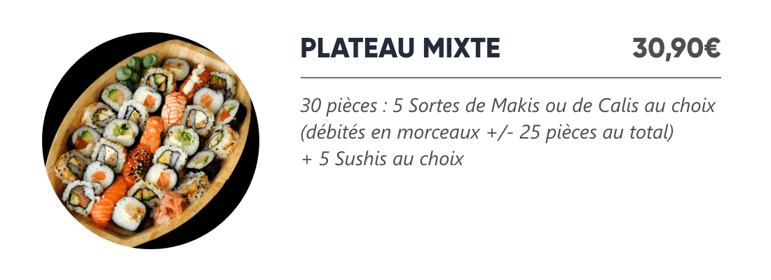 Plateau Mixte - Japan Burger